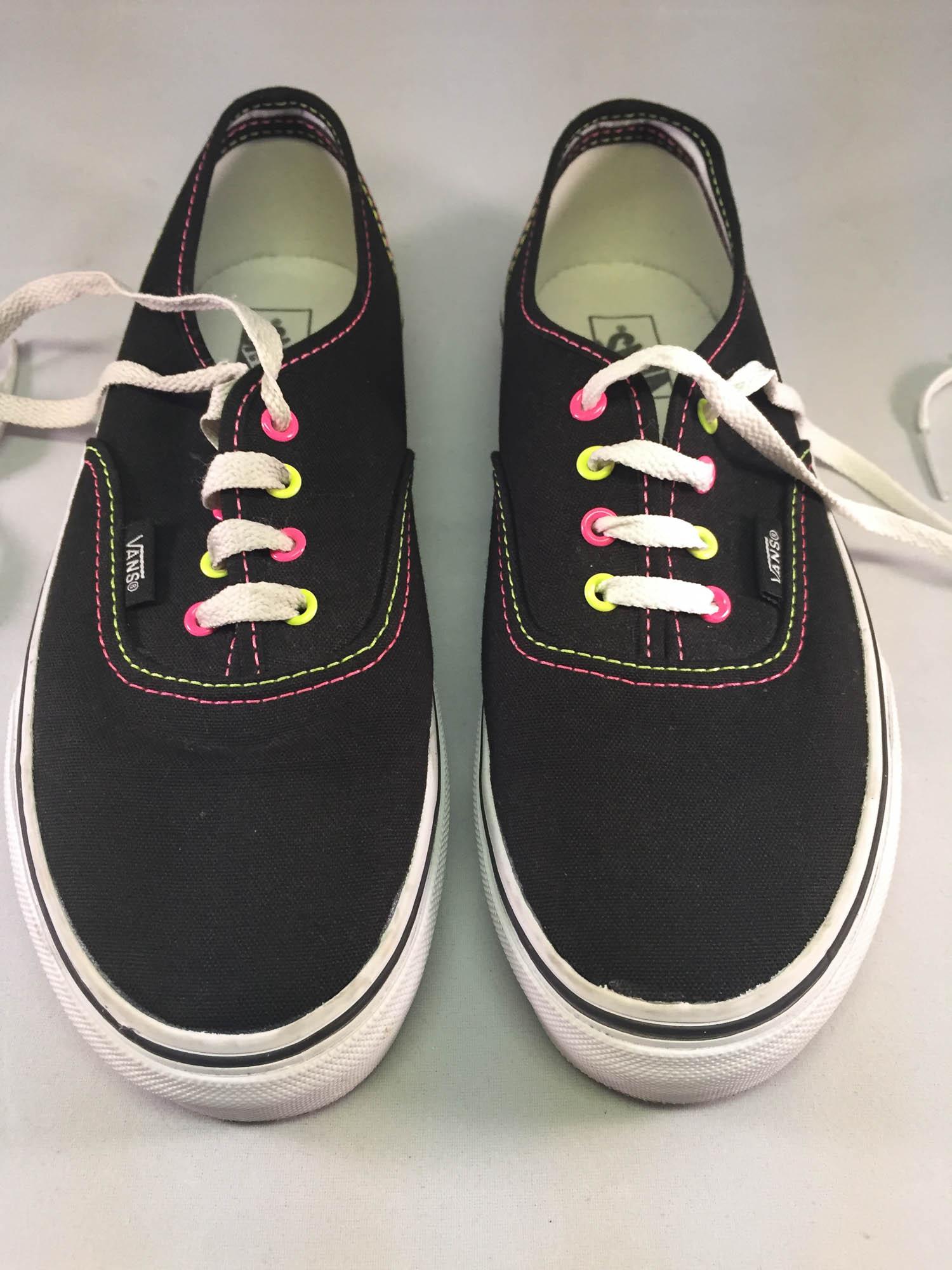 Black Vans w/ Neon Pink and Yellow